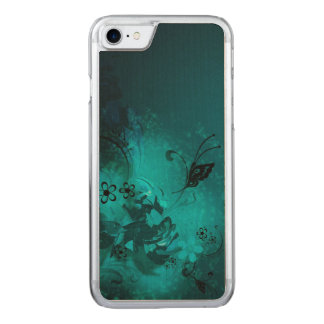 beautiful  blue flowers and buterfly vector art carved iPhone 8/7 case