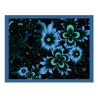 Beautiful Blue Flowers Fine Fractal Art Postcard
