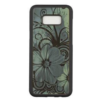 beautiful blue flowers swirl art design carved samsung galaxy s8+ case