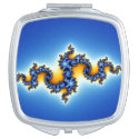 Beautiful Blue Fractal Compact Mirror