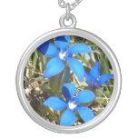 Beautiful Blue Gentian Alpine Flowers Round Pendant Necklace