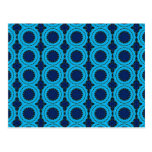 Beautiful Blue Geometric Abstract Design Postcards