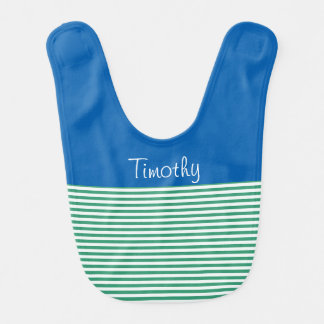 Beautiful Blue, Green and White Stripe Bib