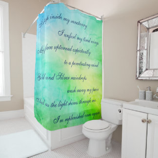 Beautiful Blue / Green Cleansing Mantra design Shower Curtain