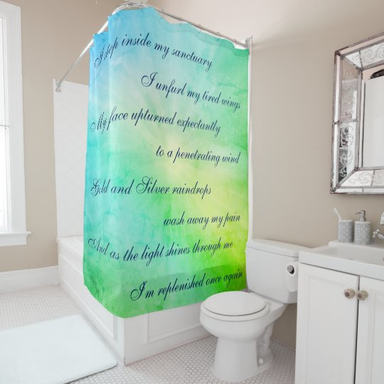 Beautiful Blue / Green Cleansing Mantra design Shower