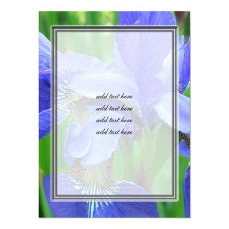 beautiful blue iris flowers 14 cm x 19 cm invitation card