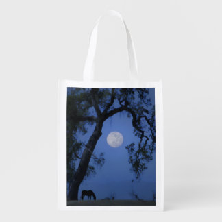 Beautiful Blue Moon Grocery Bag With Horse and Oak