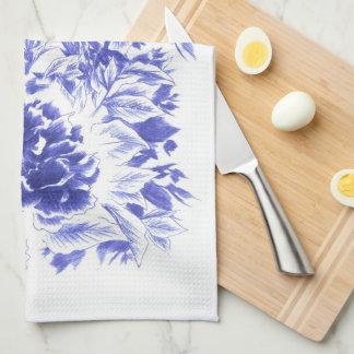Beautiful Blue Peony Kitchen Towel