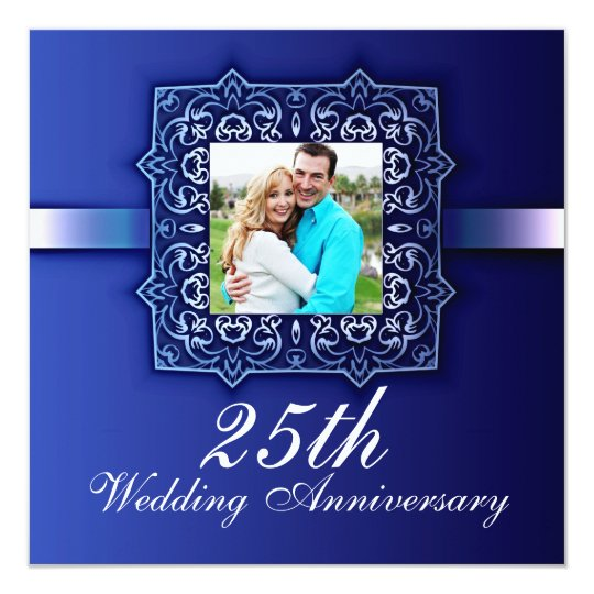 beautiful blue photo 25th anniversary invitation