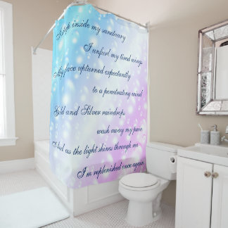 Beautiful Blue / Pink Cleansing Mantra design Shower Curtain