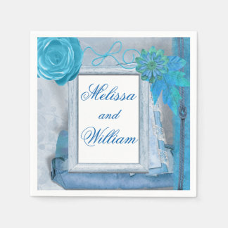 Beautiful Blue Rustic Wedding Paper Napkin