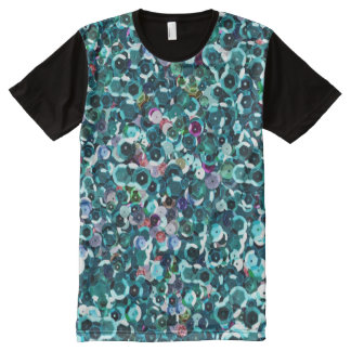 Beautiful Blue Sequins Sparkle Bling All-Over Print T-Shirt