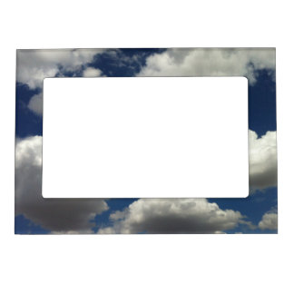Beautiful Blue Sky with Puffy White Clouds Magnetic Picture Frame