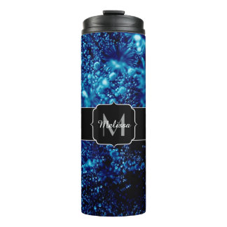 Beautiful blue sparkles Frozen bubbles Monogram Thermal Tumbler