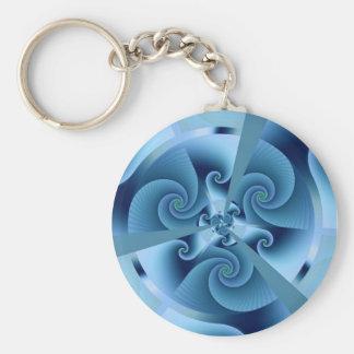 Beautiful Blue Spiral Fine Fractal Art Basic Round Button Key Ring