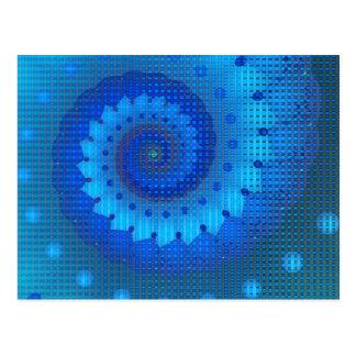 Beautiful Blue Spiral Fine Fractal Art Postcard