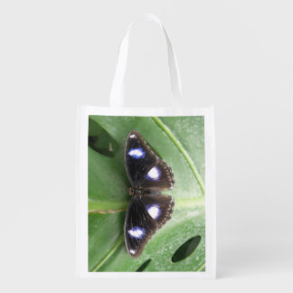 Beautiful Blue Spotted Butterfly Reusable Bag Market Totes