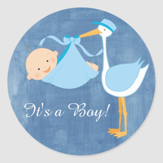 Beautiful Blue Stork Baby Shower Party Sticker