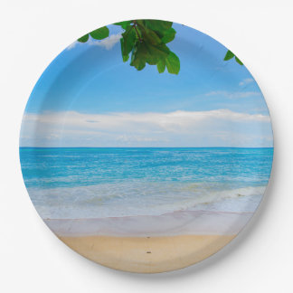 Beautiful Blue Tropical Beach Paper Plate