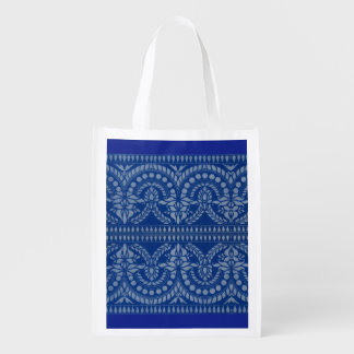 beautiful blue Victorian decor print Reusable Grocery Bag