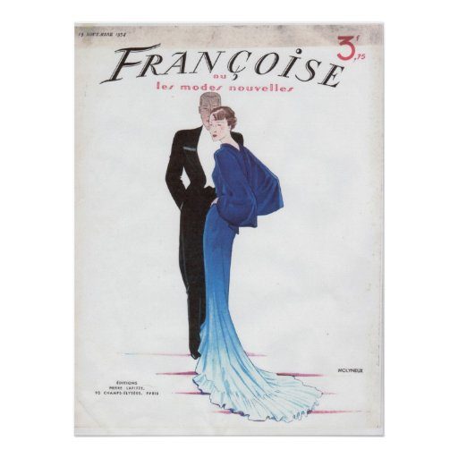 Beautiful Blue Vintage French Evening Gown Poster