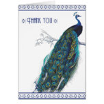 Beautiful Blue Vintage Peacock - Thank you card