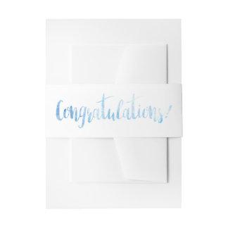 Beautiful Blue Watercolor Congratulations Band Invitation Belly Band