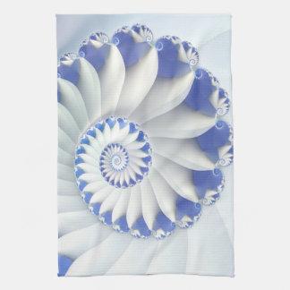 Beautiful Blue & White Sea Shell Abstract Art Tea Towel