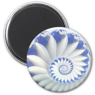 Beautiful Blue & White Sea Shell Fine Fractal Art 6 Cm Round Magnet
