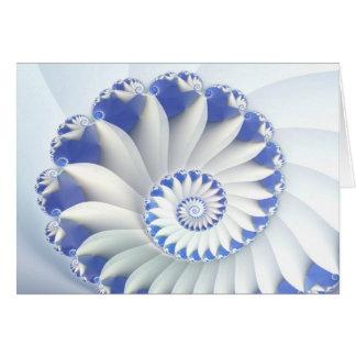 Beautiful Blue & White Sea Shell Fine Fractal Art Card