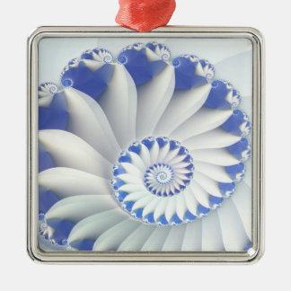 Beautiful Blue & White Sea Shell Fine Fractal Art Christmas Ornament