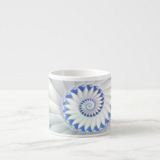 Beautiful Blue & White Sea Shell Fine Fractal Art Espresso Cup