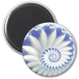 Beautiful Blue & White Sea Shell Fine Fractal Art Magnet