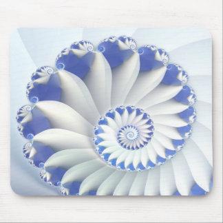 Beautiful Blue & White Sea Shell Fine Fractal Art Mouse Mat
