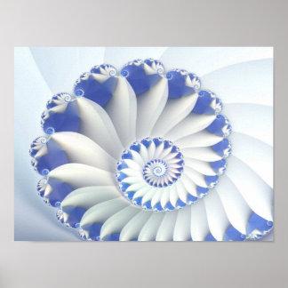 Beautiful Blue & White Sea Shell Fine Fractal Art Poster
