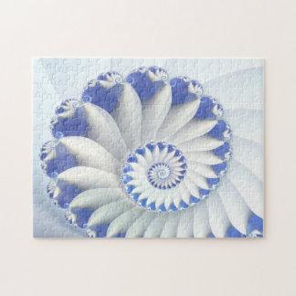 Beautiful Blue & White Sea Shell Fine Fractal Art Puzzles