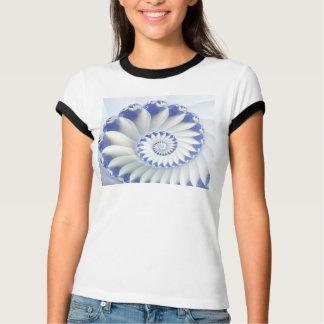 Beautiful Blue & White Sea Shell Fine Fractal Art T-Shirt
