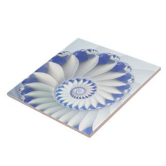 Beautiful Blue & White Sea Shell Fine Fractal Art Tile