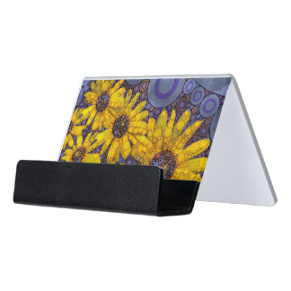 Beautiful Blue Yellow Sunflowers Abstract Desk Business Card Holder