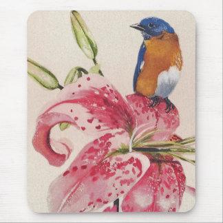 beautiful bluebird on a stargazer lily. mouse mat