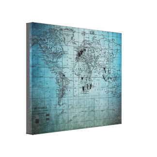 Beautiful Blues Textured Map on Canvas Wrap Canvas Prints
