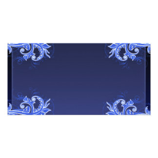 Beautiful bluish floral wedding gift photo card template