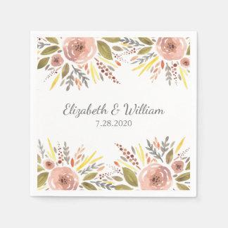 Beautiful Blush Rose Watercolor Floral Wedding Disposable Serviette