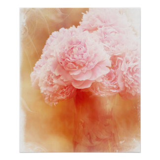 Beautiful Blushing Peony Bouquet Poster