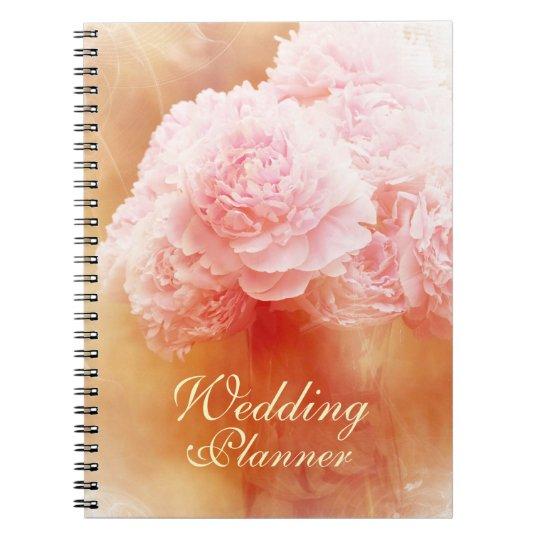 Beautiful Blushing Peony Bouquet Wedding Planner Notebook