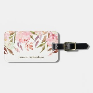 Beautiful Botanical   Watercolor Floral on White Luggage Tag