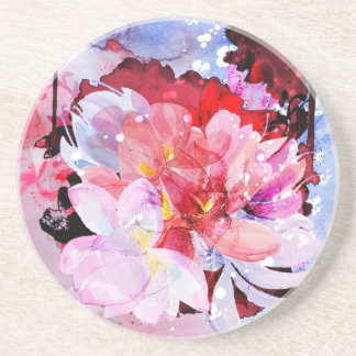 Beautiful bouquet of flowers sandstone coaster