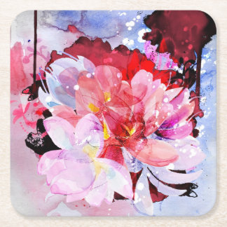 Beautiful bouquet of flowers square paper coaster