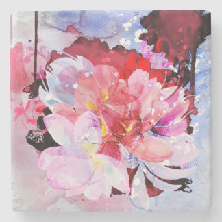 Beautiful bouquet of flowers stone beverage coaster