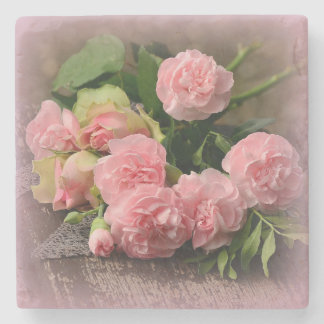 Beautiful Bouquet Pink Roses on Marble Coaster Stone Coaster